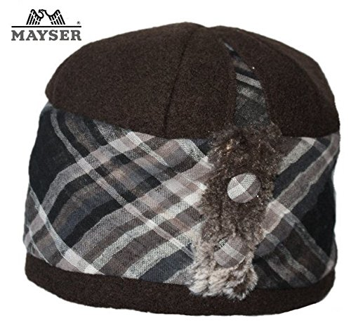 Mayser Stoffglocke als Winterhut - Modischer Damenhut in Baumwolle braun - Ohren bedeckt
