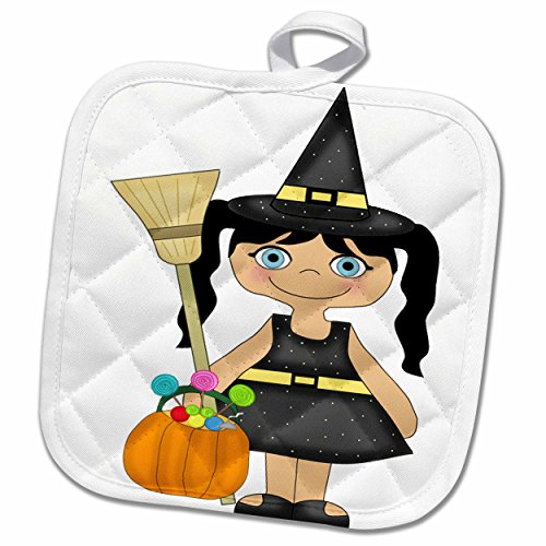 3dRose Anne Marie Baugh - Halloween - Cute Little Girl Dressed As A Witch For Halloween - 8x8 Potholder ()