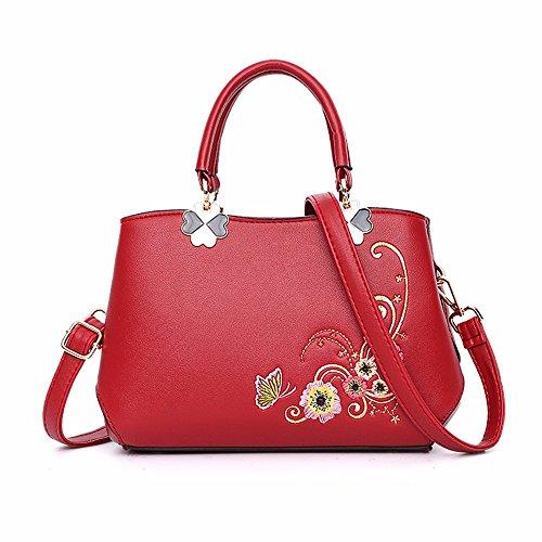 B A CCZUIML de Bag Las Moda de Nuevo Bolso la de púrpura Mujeres Hombro Rojo qHqRZx76