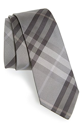 Burberry+London+Manston+Check+Silk+Tie%2C+Gray
