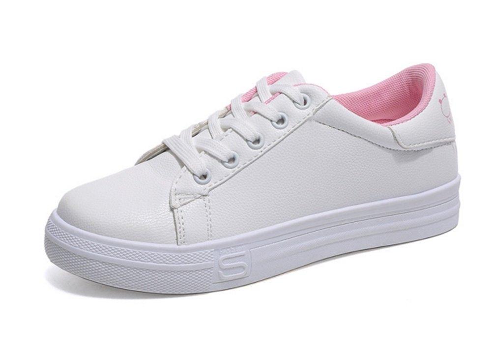 XIE Primavera Verano Otoño Blanco Zapatos Cómodos Joker Plano Zapatos Casuales Moda Shallow Cord-up Zapatillas 36-39, Pink, 39 39|Pink