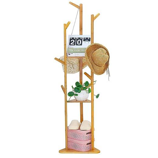 UNHO Perchero Pie de Bambú con 10 Ganchos y 3 Estantes 167 x 40 x 40cm Perchero de Árbol para Colgar Ropa Bolsas Sombreros Carga Máx 40kg