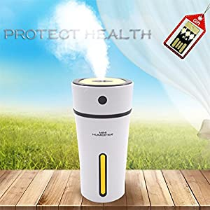 Mini Humidifier, 300mL Cool Mist Car Humidifier Top Fill Easy To Clean Leakage-proof 10 Hours working time with Warm Nightlight for Car Office Home Desk (Black)