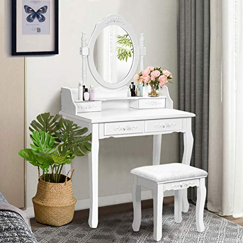 Giantex Vanity Table Set with Oval Mirror and 4 Drawers, Wood Makeup -