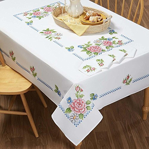 (Herrschners® Pink Roses Table Linens Stamped Cross-Stitch)
