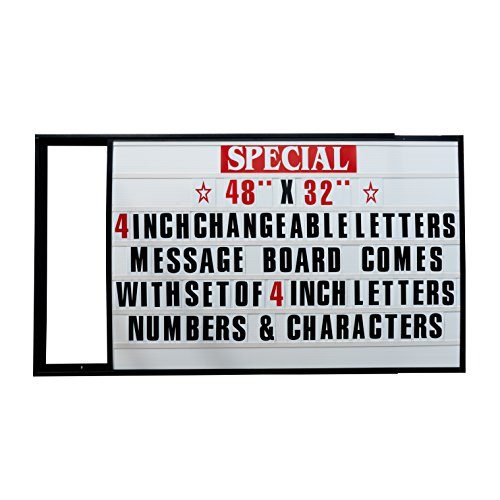 48''x32'' Outdoor Changeable Letter Message Board Marquee Sign with Metal Frame - Clear Acrylic Protection Cover and 4 Inch Letters Set! by Mysignboards (Image #1)