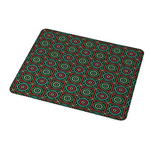 Gaming Mouse Pad Custom Afghan,Colorful Rhombuses in Bullseye Circles and Checkered Squares Pattern Mosaic Motif,Custom Non-Slip Mouse Mat 9.8
