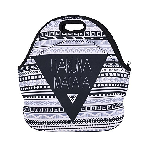 Aigemi Neoprene Lunch Tote Bag Insulated Reusable Lunch Bags Boxes for Women, Adults, Kids, Girls, and Teen Girls (Hakuna Matata)