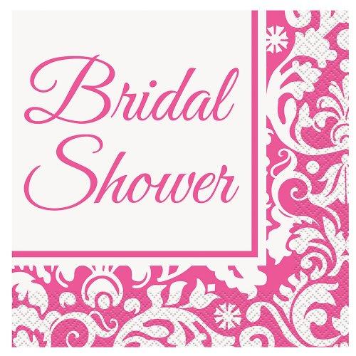 Bridal Pink Damask Shower (Pink Damask Bridal Shower Luncheon Napkins, 16ct)