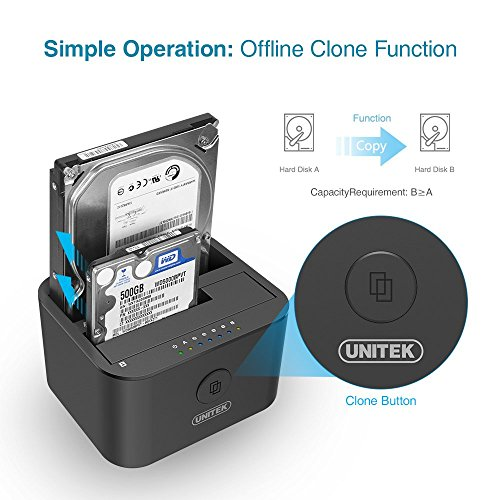 UNITEK USB 3.0 to SATA I/II/III Mini Dual Bay External Hard Drive Docking Station for 2.5/3.5-inch HDD SSD, Offline Clone Duplicator Function Support UASP & 10TB with 12V/3A Power Adapter by Unitek (Image #1)