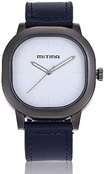 Scpink Reloj De Moda Personalizado para Hombre, Caja Cuadrada Geométrica, Movimiento Japonés, Reloj De Cuarzo De Cuero (Azul): Amazon.es: Electrónica