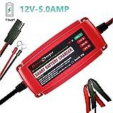 TPE 12Volt 5Amp Car Battery Charger For AGM GEL Sealed Lead acid VRLA RV Marine Golf Cart Motorcycle Batteries (Red)