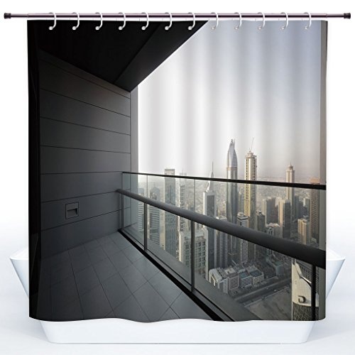 SCOCICI Fun Shower Curtain,Modern Decor,Arabian City Dubai Landscape Downtown from Balcony Photo Image,Charcoal Grey and White,Polyester Shower Curtains Bathroom Decor Set with Hooks by SCOCICI