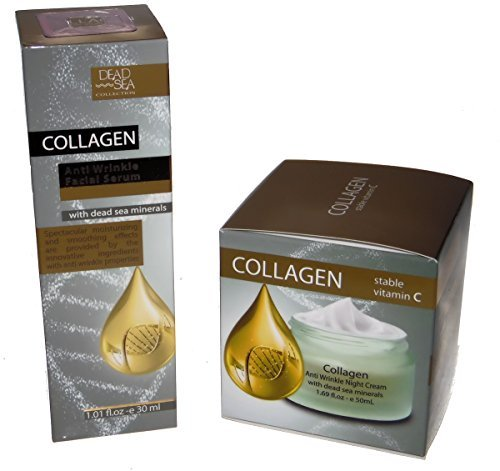 Anti Wrinkle Collagen Facial Serum and a Night Cream - both with Dead Sea Minerals