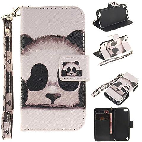 iPod Touch 6th Generation Case, Ngift [Panda] Premium PU Leather Folio Wallet [Wrist Strap] [Stand] Leather Case for Apple Touch (Ipod 6th Generation Strap)