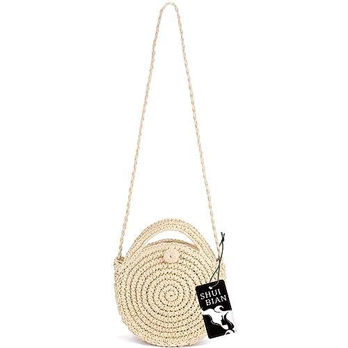 9f0f0de686 SHUIBIAN Women Straw Crossbody Bag Crochet Shoulder Summer Bag Round  Handbags Beach Bag: Handbags: Amazon.com