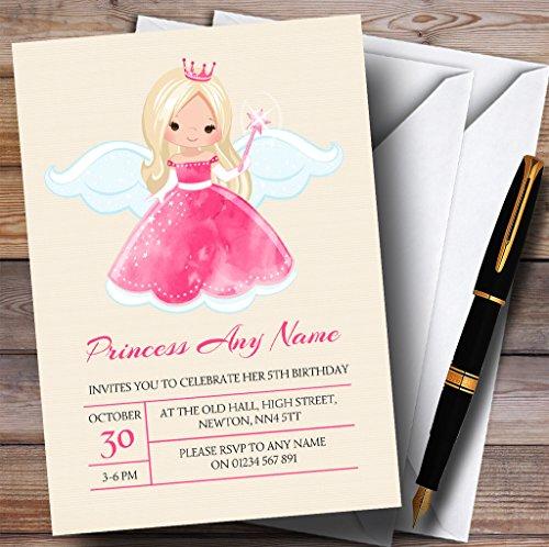 Pink Fairy Princess Childrens Birthday Party Invitations Fairy Princess Birthday Invitations