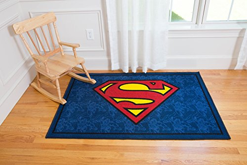 (Wildkin 39x58 Inch Rug, Features Durable Design, Vibrant Colors, and Skid-Proof Backing, Coordinates with Other Superhero Gear - Superman)