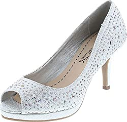 Silver Peep Toe With Rhinestones High Heel Dress Pump