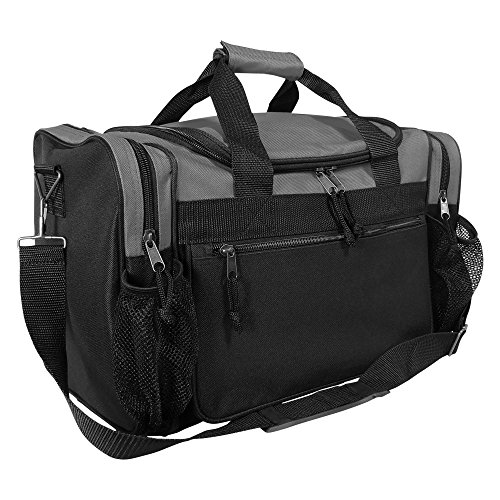 "DALIX 17"" Duffle Bag Front Mesh Pockets in (Gray)"
