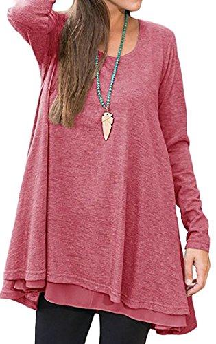 Manches Longues Femmes Cromoncent Évasé Solide T-shirt Robe Rouge Pastèque Casual