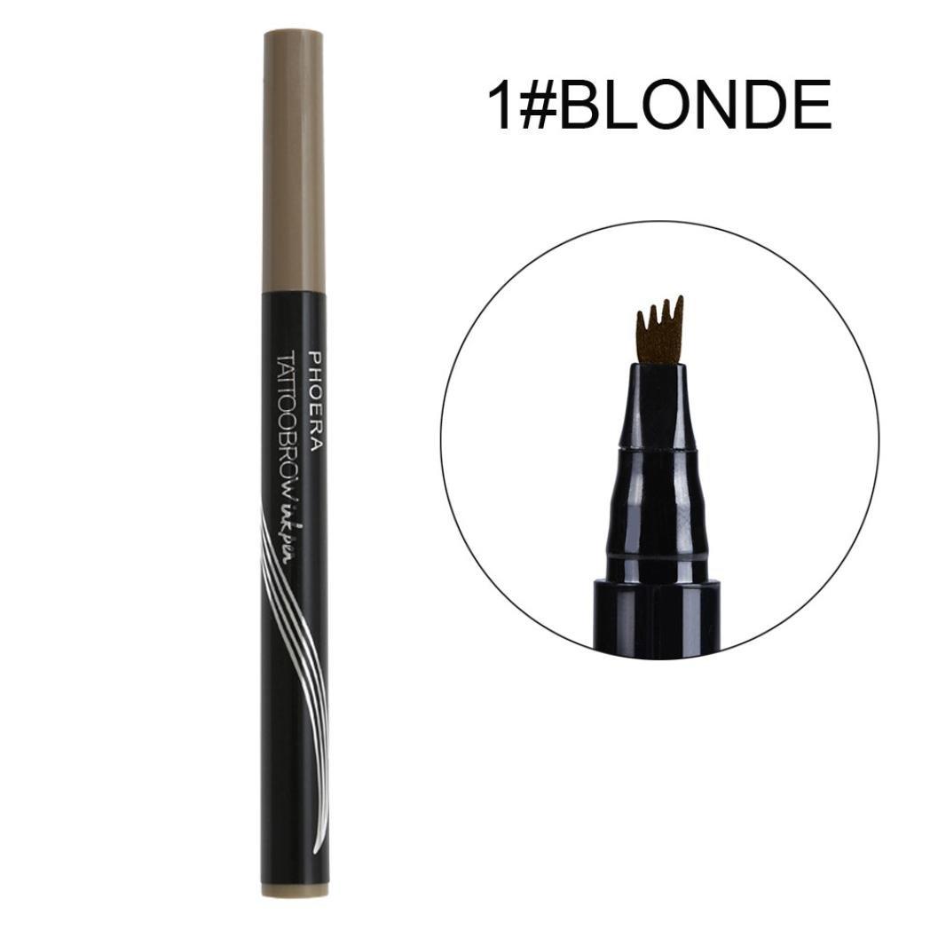 Inverlee 3Pcs Waterproof Eye Brow Eyeliner Eyebrow Pen Pencil with Brush Makeup Cosmetic (Blonde)