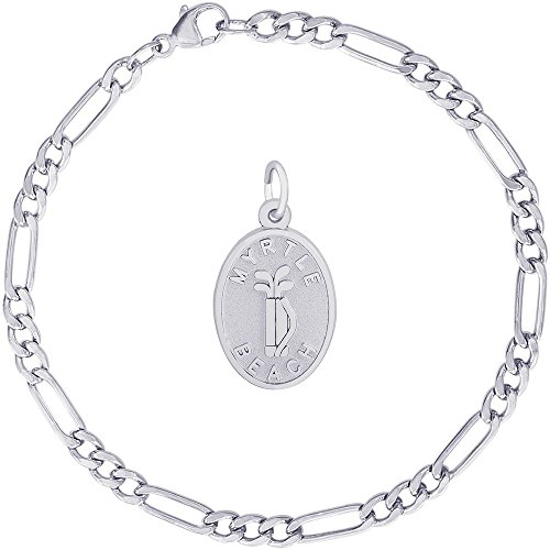 (Rembrandt Charms Sterling Silver Myrtle Beach Golf Bag Charm on a Classic Figaro Bracelet, 7
