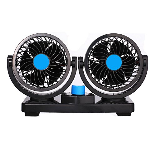 12V Fan Cooling Air Fan Powerful Dashboard Electric Car Fan Low Noise 360 Degree Rotatable with 2 Speed Adjustable for Vehicle Truck RV SUV or Boat by EXCOUP (Image #1)