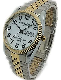 Reloj de Hombre Swanson Japan Mens Watch Tow-Tone Day-Date With Big Black