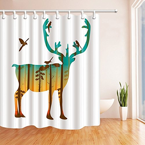 - HiSoho Abstract Animals Shower Curtains for Bathroom, Tree Forest Silhouette on Elk with Bird, Polyester Fabric Waterproof Bath Curtain, Shower Curtain Hooks Included, 71X71in