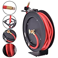 """3/8"""" x 50' Auto Rewind Retractable Air Hose Reel Compressor 300 PSI With Locking Ratchet Mechanism(Eight Locking Positions)"""