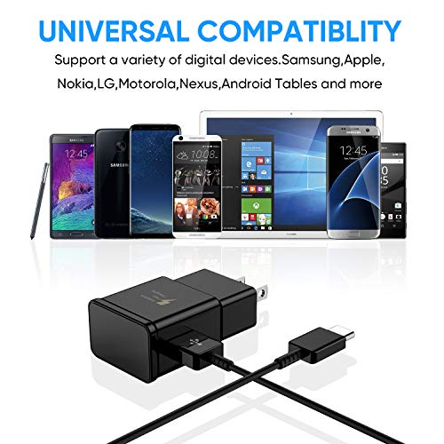Adaptive Fast Charger USB Type C Cable Compatible with Samsung Galaxy S21+ S21 Ultra 5G S10 S10e / S9 / S9+ / S8 / S8 Plus/Active/Note 10 9 8 20 Plus, (2 Wall Charger Adapter + 2 Cable)