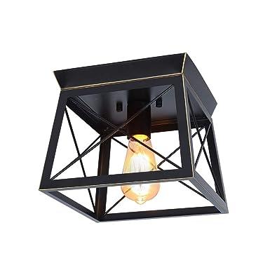 HMVPL Industrial Pendant Lighting Fixtures,Farmhouse Flush Mount Close to Ceiling Light Mini Ceiling Lamp One-Light for Kitchen Island Dining Room Bedroom Foyer Hallway