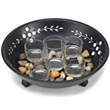 Candle Display Set with Pebbles in Decorative Bowl