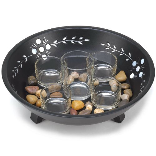 Candle Display Set with Pebbles in Decorative Bowl by Unknown