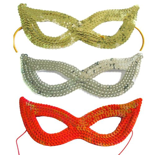 [3 Piece Dazzling Sequins Masquerade Costume Party Cat Eye Mask] (Grus Dog Costume)