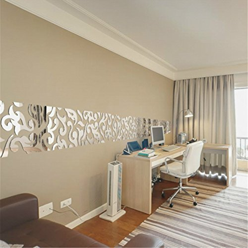Yanqiao 46pcs Removable Round Mirrors Wall Stickers Flower