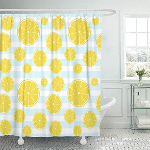 SZZWY Yellow Line Lemons Slices on Blue White Striped Pattern Shower Curtain 3D Printing Waterproof Coated Polyester Fabric Bathroom with 12 Hooks 71 inches