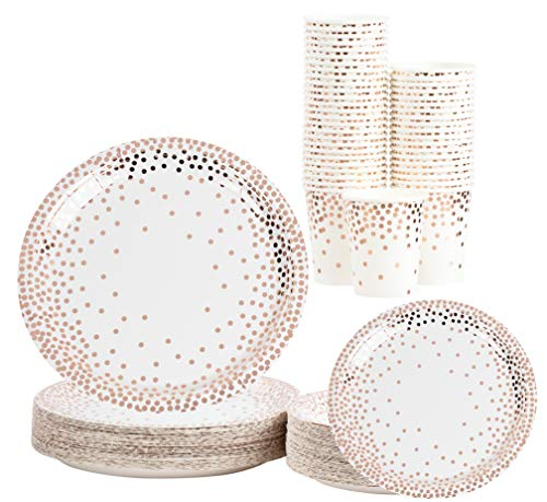 Disposable Dinnerware Set - Serves 50 - Party Supplies, Rose Gold Foil Polka Dot Design, Includes Dinner and Appetizer Paper Plates, Cups