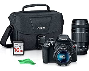 Canon EOS Rebel T6 Digital SLR Premium Kit, EF-S 18-55mm and EF 75-300mm Zoom Lenses, Backpack, 16GB Memory Card, Wifi, DigitalAndMore Camera Cleaning Cloth