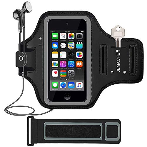 (iPod Touch 6th/5th Generation Armband, JEMACHE Gym Running/Exercise/Workout Sport Arm Band Case for iPod Touch 6/5/4 Generation with Card/Key Holder (Black))