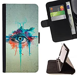 Momo Phone Case / Flip Funda de Cuero Case Cover - Pintura de la acuarela Arte de ojos Azules Dibujo - LG OPTIMUS L90