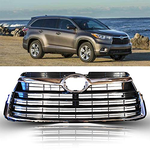 Front Replacement Grill fits Toyota Highlander | 2014 2015 2016 | ABS Chrome 531010E170 | by JX Accessories