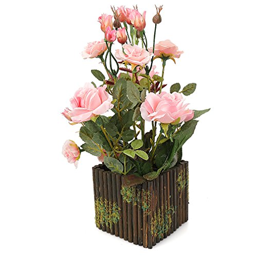 RERXN Artificial Flower with Wooden Fence Pot Silk Potted Rose Arrangement for Home and Wedding Decor (Pink) by RERXN