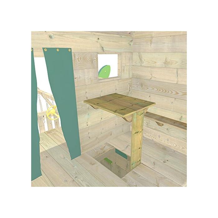 WICKEY Casa del árbol casa de juegos incl. mesa y un banco, techo de madera, paredes de escalada y un montón de accesorios Viga de columpio de 9x9cm, postes verticales de 7x7cm - Calidad y seguridad aprobada - Made in Germany Madera maciza impregnada en clave, de fácil mantenimiento - Instrucciones de montaje sencillas y detalladas