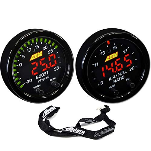 AEM 52mm X-Series Gauge Kit Wideband Air/Fuel UEGO & Boost Pressure 35PSI 2.5Bar w/MAP Lanyard Black