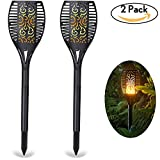 Solar Torch Lights, LOFTER Realistic Flame-like Garden Torch Lights Solar Powered, Lighting Dusk to Dawn Auto On/Off, IP65 Waterproof Build -2 Pack