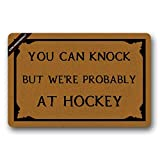 You Can Knock, But We're Probably at Hockey Welcome Doormat Decorative Quote Doormat for Front Porch 23.6(L) X15.7(W) inch