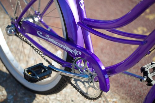 """3-Speed Women's Tahiti NX3 26"""" Beach Cruiser / Shimano Nexus Internal Coaster Brake and Gear System / Stainless Steel Spokes One Piece Crank Alloy Rims 36H White Wall Tire w/ Fenders Color: Purple/ Alloy"""