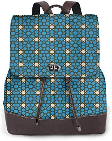 Women's Leather Backpack,Moroccan Stars Pattern with Geometric Shapes Bohemian Folklore Motifs,School Travel Girls Ladies Rucksack
